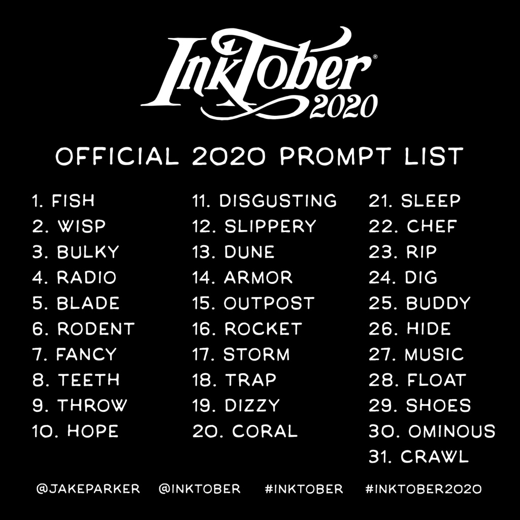Inktober 2020 daily prompt list